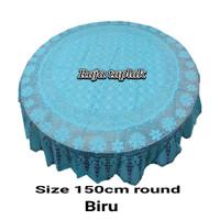 taplak meja makan 4-6 kursi bulat waterproof anti air rajut biru