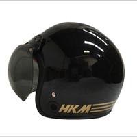 helm retro hkm line black gloss (free kaca helm)
