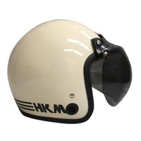 Helm retro HKM line cream (free kaca helm)