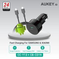 Aukey Car Charger CC-Y13 + Aukey Cable CB-CD19