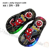 Sandal Anak Jelly Lampu LED Import Spiderman