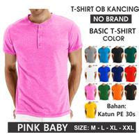 (PROMO) Kaos oblong kancing polos pria/wanita (UNISEX) seragam - Pink Baby, M