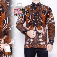 Kemeja Batik Pria Size M L XL XXL Lengan panjang Katun Hitam Jubair