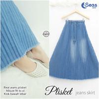 Rok Plisket Jeans Bawahan Wanita Skirt Terbaru Fit XL