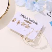 anting set 3 pasang star fish conch set earrings jan212