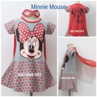 Baju Dress Kostum Girl Karakter Princess MINNIE MOUSE 3-9 Tahun
