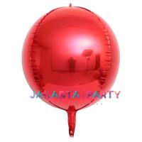 Balon Foil Bulat Orbz Merah / Orbs 4D Helium Quality / Balon Orbz