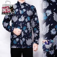 Kemeja Batik Pria Size M L XL XXL Lengan Panjang Katun Navy Basyar