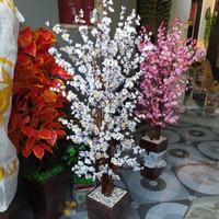 Pohon hias bunga sakura/bunga sakura/bunga hias plastik - Merah Muda