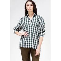 Blouse Wanita / Atiya Green Offwhite Shirt 24447T5NO - Bodytalk