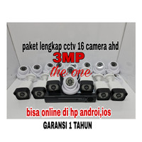 PAKET CAMERA CCTV 3MP 16 CHANNEL 16 CAMERA.(paket lengkap)