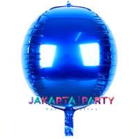Balon Foil Bulat Orbz Biru / Balon Orbs 4D Helium Quality / Balon Orbz