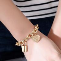 gelang hati gembok chain lock heart bracelet jge090