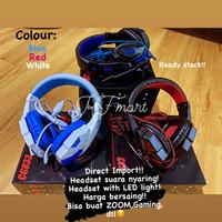 Gaming Headset Stereo Bass with LED Light/ Headphone bando - Merah