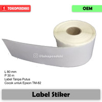 Label Thermal Continuos 80 x 30m Printer Epson T-T82 Moka Stiker 80x80