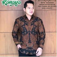 kemeja furing motif Mahesa sogan batik solo pria lengan panjang