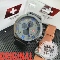jam tangan swiss army chrono pria bonus box original bonus tali kulit