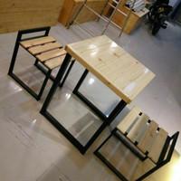 Meja makan / Meja cafe industrial minimalis 2 bangku