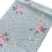 Bunga rose dasar biru 45 cm x 10 mtr ~ Wallpaper sticker dinding