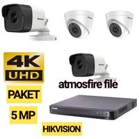 PAKET CCTV HIKVISION 8CH 4 CAMERA 5MP HDD 2TB RESMI TINGGAL PASANG