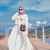 Rok plisket panjang jumbo /rok rempel kerja muslim wanita grosir murah - hijau army