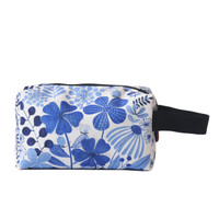 Travel Pouch Serbaguna Tas Makeup Flower Blue Kamalika Artprints