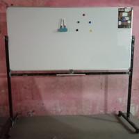 Whiteboard / Papan tulis keiko magnetic Single face stand uk 90x180 Cm