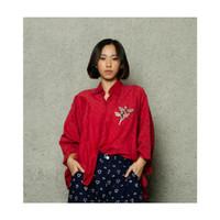 baju atasan wanita blouse Dragonflies warna merah maroon