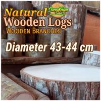 Kayu log kayu wood Dm 43-44 cm talenan bahan meja samping dekorasi