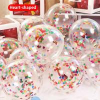 Balon Latex Transparan isi Confetti Love/ Heart ukuran 12 inci