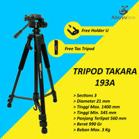 Tripod Takara Eco 193A Holder U | Tripod Kamera Mirrorless | HP | DSLR