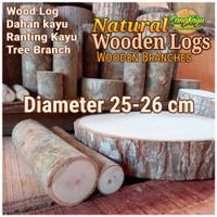 Kayu log kayu Dm 25-26 cm talenan bahan meja samping dekorasi hiasan