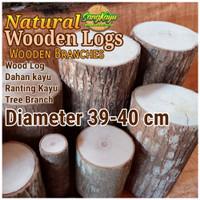 Kayu log kayu wood Dm 39-40 cm talenan bahan meja samping dekorasi