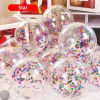 Balon Latex Transparan isi Confetti Bintang/ Star ukuran 12 inci