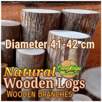 Kayu log kayu wood Dm 41-42 cm talenan bahan meja samping dekorasi
