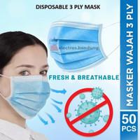 Face Mask Disposable 3 Ply Isi 50 Pcs/Masker Kesehatan Earloop 3 Lapis