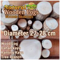 Kayu log kayu Dm 27-28 cm talenan bahan meja samping dekorasi hiasan