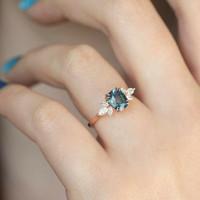 Cincin berlian eropa berlian natural diamond 18K Gold blue topaz alxsj