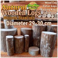 Kayu log kayu Dm 29-30 cm talenan bahan meja samping dekorasi hiasan