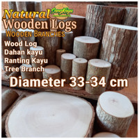 Kayu log kayu wood Dm 33-34 cm talenan bahan meja samping dekorasi