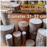 Kayu log kayu Dm 31-32 cm talenan bahan meja samping dekorasi hiasan