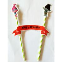 topper hiasan kue cake ulang tahun happy birthday karakter troll trol