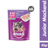 pouch whiskas junior 85g - whiskas sachet junior makarel (6 pcs)