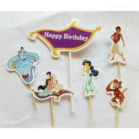 topper hiasan kue cake ulang tahun happy birthday karakter aladin