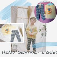 Erdans Premium Hello Summer Denim Baju Setelan Anak Perempuan Murah