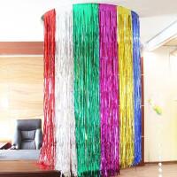 Tirai Foil Backdrop Ulang Tahun / Rumbai Foil 1×2M / Foil Curtain - Merah