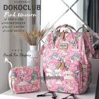 Tas Dokoclub Motif Import Diaper Bag Backpack Ransel Perlengkapan Bayi - Pink Unicorn