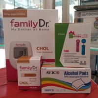 Paket FamilyDr Kolesterol alat tes kolesterol+strip+lancet+alkoholSwab