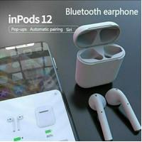 Headset Handsfree Earpods Bluetooth i12 Bluetooth versi 5.0