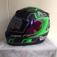 Helm JPN fullface F3 hitam doff stiker hijau